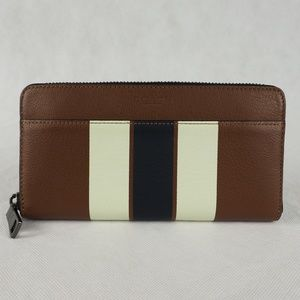 Coach Men's Wallet Accordion Varsity Leather Brown